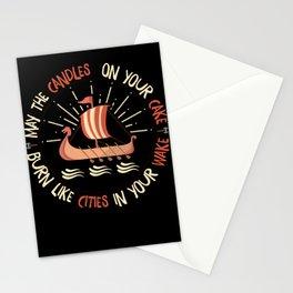 Viking birthday t-shirt long boat motif men Stationery Cards