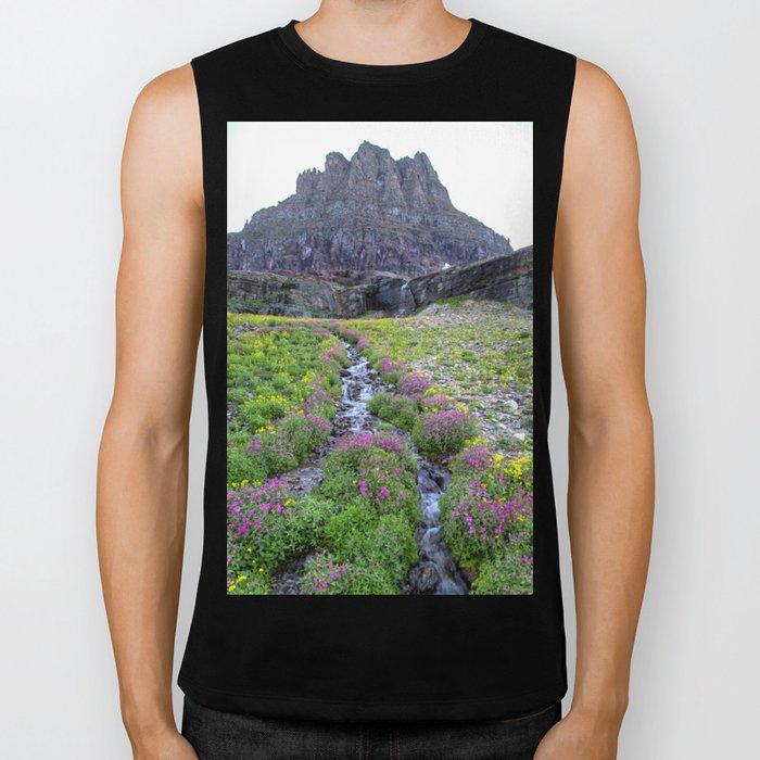 Mountain Wildflowers Lined Stream Biker Tank