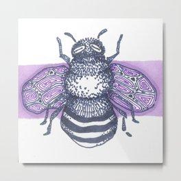 Purple Bee Metal Print