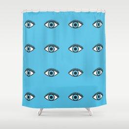 Blue Evil Eyes Shower Curtain