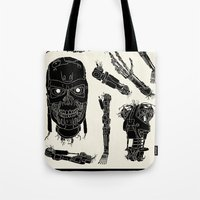 terminator Tote Bags featuring Decommissioned: Terminator  by Josh Ln