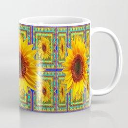 Southwest Style Sunflowers Art in blue, Turquoise & Yellows Coffee Mug