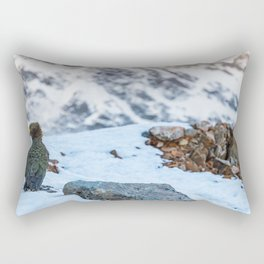 Kea parrot bird in the snow mountains of New Zealand Rectangular Pillow