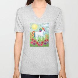 daydreamer (rainbow unicorn), sunshine, petunias Unisex V-Neck