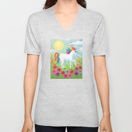 daydreamer (rainbow unicorn), sunshine, petunias Unisex V-Neck