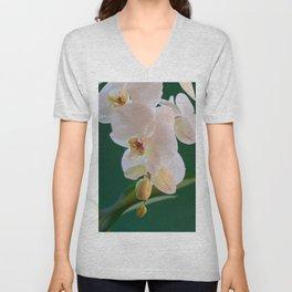 Blossoming White Orchid Flower on Green Background Unisex V-Neck
