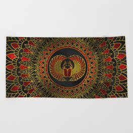Egyptian Scarab Beetle - Gold and red  metallic Beach Towel
