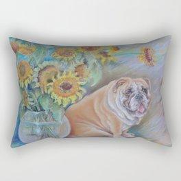 Bull Gogh van Dog Sunflowers & Bulldog Pastel drawing Funny pastiche of van Gogh's painting Rectangular Pillow