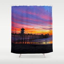 Huntington Beach Sunset   ~  12/15/13  Shower Curtain