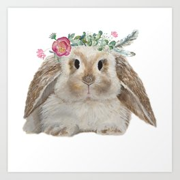 Cute Bunny with Flower Crown Art Print