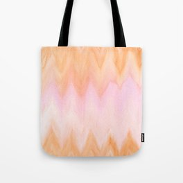 Blush pink orange watercolor hand painted ombre ikat Tote Bag
