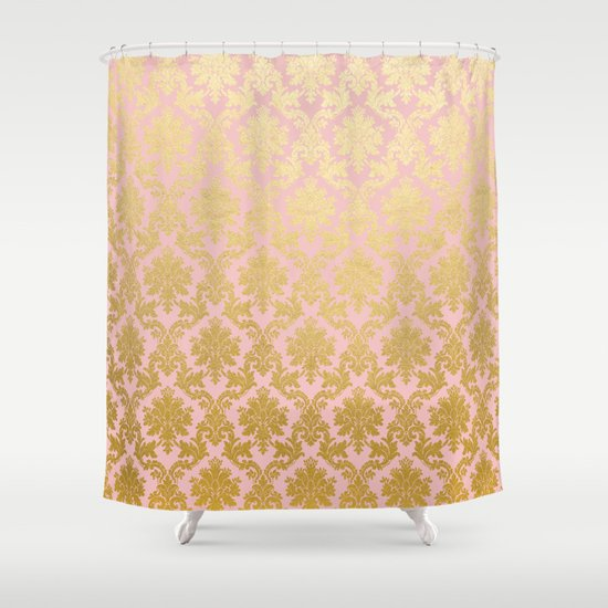 Princess Like Luxury Pink Gold Ornamental Damask Pattern Shower Curtain By