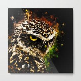 burrowing owl splatter watercolor Metal Print
