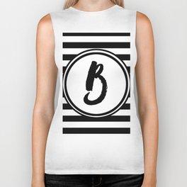 B Striped Monogram Letter Biker Tank