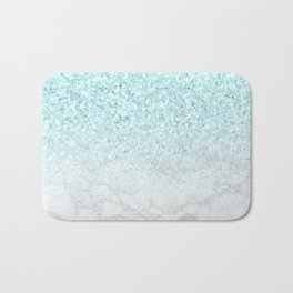 Turquoise Glitter and Marble Bath Mat