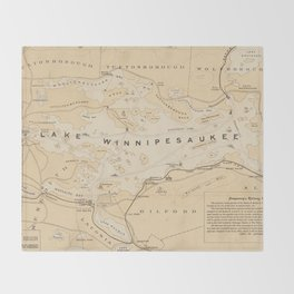 Vintage Map of Lake Winnipesaukee (1896) Throw Blanket