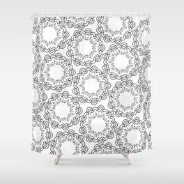 Abstract geometrical black white hand painted mandala Shower Curtain