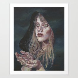 The Messenger, Portrait of a Powerful Witch with Ravens Art Print