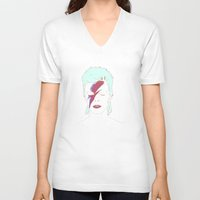 bowie V-neck T-shirts featuring Bowie by Itxaso Beistegui Illustrations