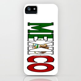 Mexico Font with Mexican Flag iPhone Case