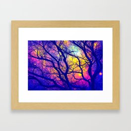 Black Trees Deep Bright & Colorful Space Framed Art Print