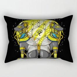 Egyptian Cat Goddess Bastet Sacred Geometry Rectangular Pillow