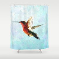 hummingbird Shower Curtains featuring Hummingbird by Nichole B.