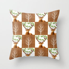 Woodland Deer Quilt Throw Pillow