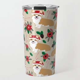 Welsh Corgi poinsettia christmas hat santa little corgi elf pet friendly dog breed gifts Travel Mug