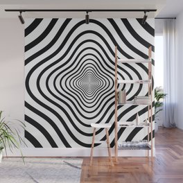 op art - black and white twisty tunnel Wall Mural