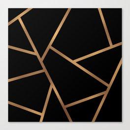 Black and Gold Fragments - Geometric Design Canvas Print