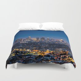 Los Angeles, California, I love LA Downtown Skyline, Golden lights, USA Sunset Blvd, Palms, Cali Map Duvet Cover