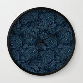 Meredith Paisley - Navy Wall Clock
