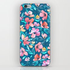 Teal Summer Floral in Watercolors iPhone & iPod Skin