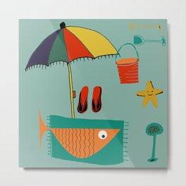Fish at the beach blue Metal Print