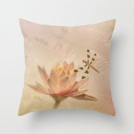 Dragonflies and Water Lily Throw Pillow