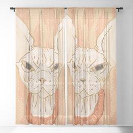 Grumpy Sphynx Cat - Hairless Kitty Illustration Sheer Curtain