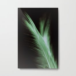 Macro photograph of a green feather sitting on a mirror showing the complete reflection. Metal Print