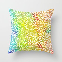 Stain Glass Floral Abstract - Rainbow Colors Throw Pillow