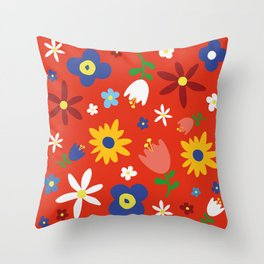 Flowers Floral Sunflower Pattern on Red Throw Pillow