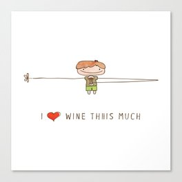 I love wine boy Canvas Print