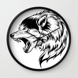 wild wolf tatto Wall Clock