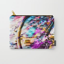 bicycle wheel with colorful abstract background in pink blue orange Carry-All Pouch