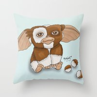 gizmo Throw Pillows featuring Gizmo by Melissa Sanchez Art