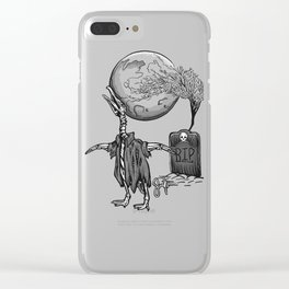 Penguin Zombie -Black and white Clear iPhone Case