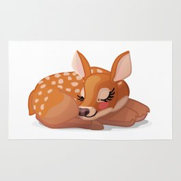 Cute fawn Red deer (Cervus Elaphus). Sleeping baby bambi Rug
