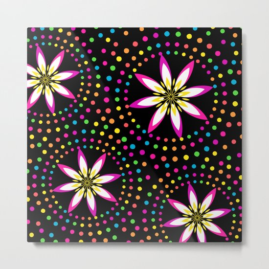 Floral Colorful Circles Metal Print