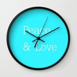 Peace & Love Aqua Wall Clock