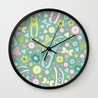 rabbits Wall Clocks featuring Funny rabbits by Julia Badeeva