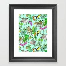 Rainforest Friends - watercolor animals on mint green Framed Art Print